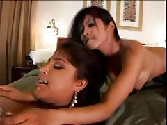 Foxy French maid joins couple for threesome tubes