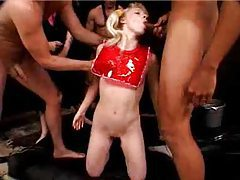 Young blonde slut is gangbanged by rough guys tubes