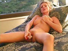 Super hot Carli Banks using a toy for fun tubes