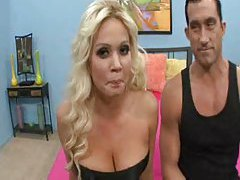 Pretty blonde pornstar in black stockings rammed tubes