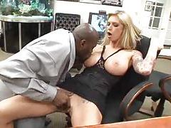 Brooke Banner in boots fucking black dude tubes