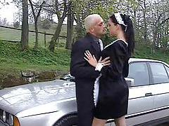 French maid fucked outdoors in the ass tubes