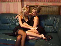 Lesbians in black dresses have sex tubes