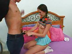 Cute teen in pigtails fucked by thick meat tubes