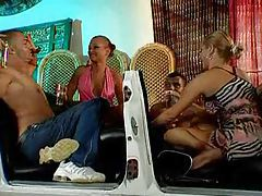 A foursome unfolds with hot chicks tubes