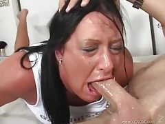 Her eyes water while she gags on his cock tubes