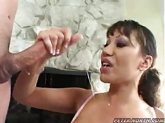 Really sloppy BJ and big cumshot tubes