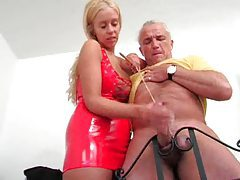 Old dude has his balls tugged and abused tubes
