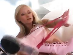 Girl in pink boots likes hard dick tubes