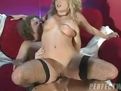 Super slut in fishnets penetrated from behind tubes