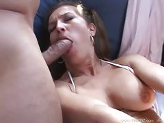 She sucks and fucks with two hung guys tubes