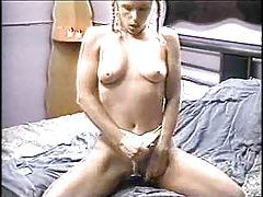 Pigtailed young blonde has 69 and sex tube