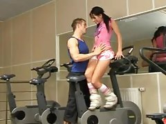 Adorable girl hardcore in the gym tubes