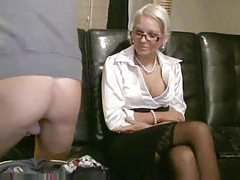 Chick in a satin blouse fucks his ass tube