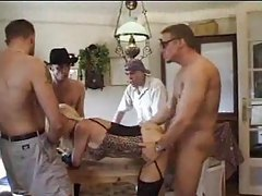 Slut in hot lingerie takes three men tubes