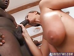 Natural titty babe bouncing on black meat tubes