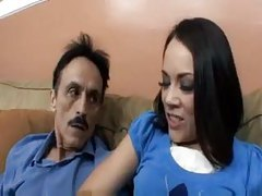 Seductive chick likes old man cock tubes