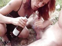 Chick drinking and fucking outdoors tubes