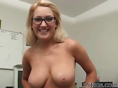 Secretary in glasses giving a handy tubes