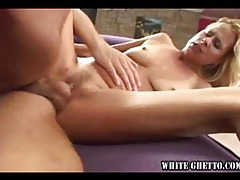 Slim chick with pierced clit fucked hard tubes