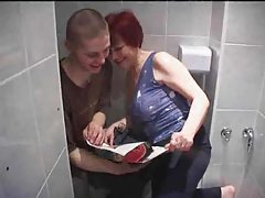 Mature redhead nailed in her bathroom tubes