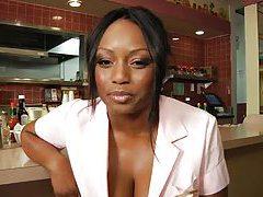 Black waitress fucks the chef in the restaurant tubes