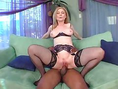 Milf in awesome lingerie taking black cock tubes
