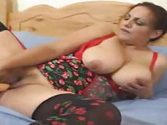 Chubby chick in stockings has a dildo tubes