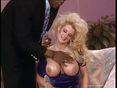 Big hair blonde slut takes black cock tubes