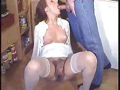 Chick with stunning hairy pussy fucked tubes