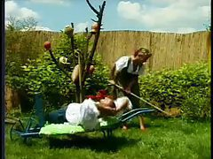 Bisexual fuck scene in the backyard garden tubes