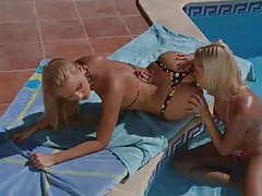 Sexy blondes have passionate poolside sex tubes