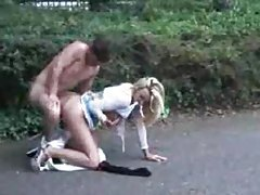 Blonde chick fucked in the parking lot tubes