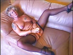 Granny with tats gets stuffed with boner tubes