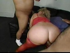 Chubby old slut in red lingerie welcomes dick tubes