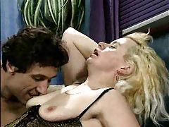 German blonde in lingerie craves cock tubes