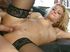 Girl with pierced nipples and clit fucked tubes