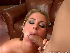 Cock gets sucked and cums in her mouth tubes