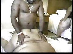 Fat black chick with rolls of flesh fucked tubes