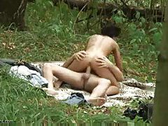 Young couple fucking in the forest tubes