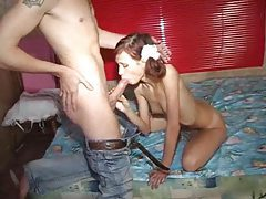 Skinny teen in pigtails takes hard cock tubes