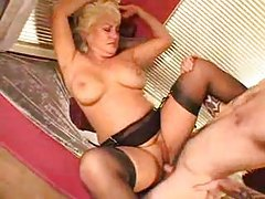 Slutty mature blonde in lingerie craves his dick tubes