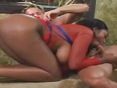 Busty black slut in light bondage fucked deep tubes