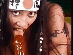 Big titty Asian using her favorite dildos tubes