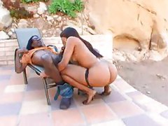 Talented black girl with a big ass takes cock tubes