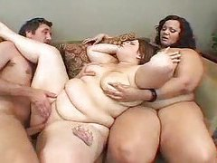 One man playing with two BBW sluts tubes