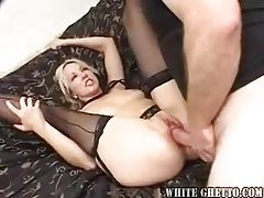 Tasty gal in stockings gobbles cock tubes