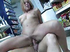 Hottie sucking and fucking in a convenience store tubes
