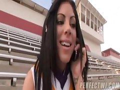 Cute cheerleader fingered and sucking tubes