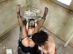 Bondage slut has pussy played with tubes